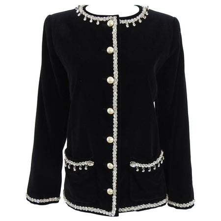 Yves Saint Laurent YSL Vintage 1980's Black Velvet Jewelled Jacket