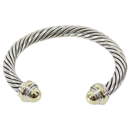 David Yurman Two Tone Classic Cable 7mm Sterling 14k Gold Cuff Bracelet