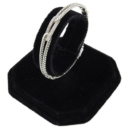 David Yurman Petite Pave Diamond and Sterling Labyrinth Loop Bracelet