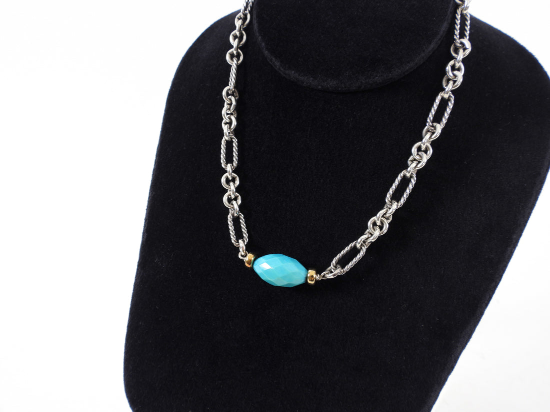 David Yurman Sterling Silver 18k Turquoise Figaro Chain Necklace