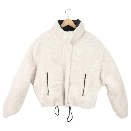 Yves Salomon Army Ivory Lamb Shearling Reversible Puffer Jacket - 36 / 4 / S