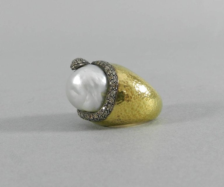 18 Karat Gold Baroque South Sea Pearl Diamond Snake Ring