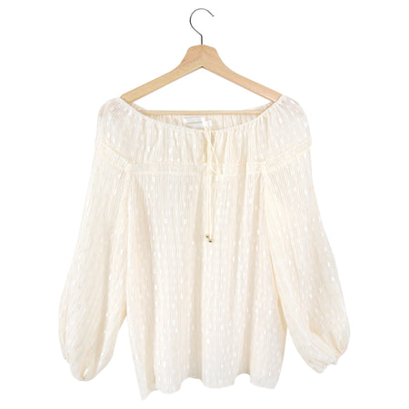 Zimmermann Ivory Dotted Boho Drawstring Blouse - S