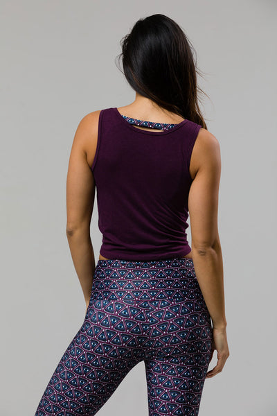 3050 KNOT CROP TOP AUBERGINE