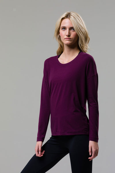 3076 BRAID BACK LONG SLEEVE TOP AUBERGINE