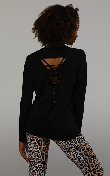 3076 BLACK BRAIDED LONG SLEEVE