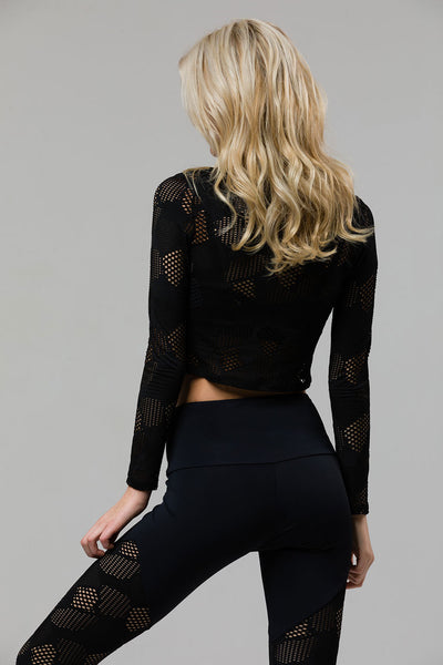 3131 LONG SLEEVE CROP BLACK HONEYCOMB
