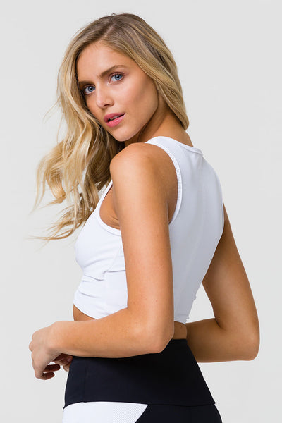 3726 FRONT TWIST CROP - WHITE