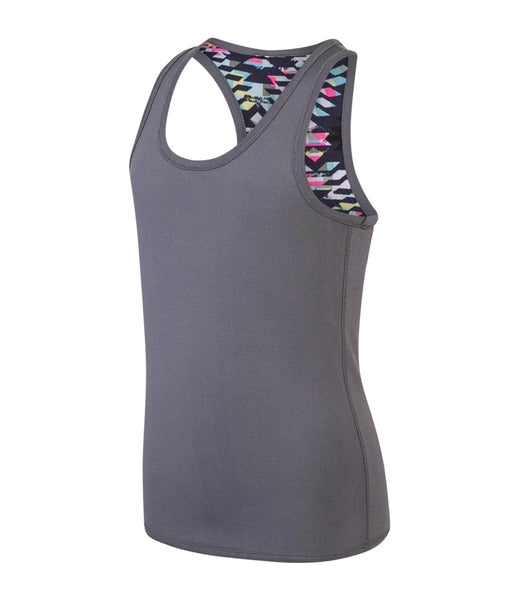 GIRLS REVERSIBLE VEST - CHARCOAL / AZTEC