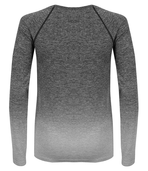 OMBRE SEAMLESS LONG SLEEVE TOP - GREY
