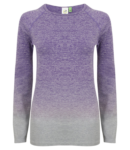 OMBRE SEAMLESS LONG SLEEVE TOP - PURPLE