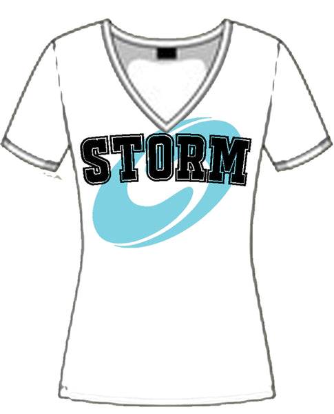 SURREY STORM V-NECK T-SHIRT - WHITE