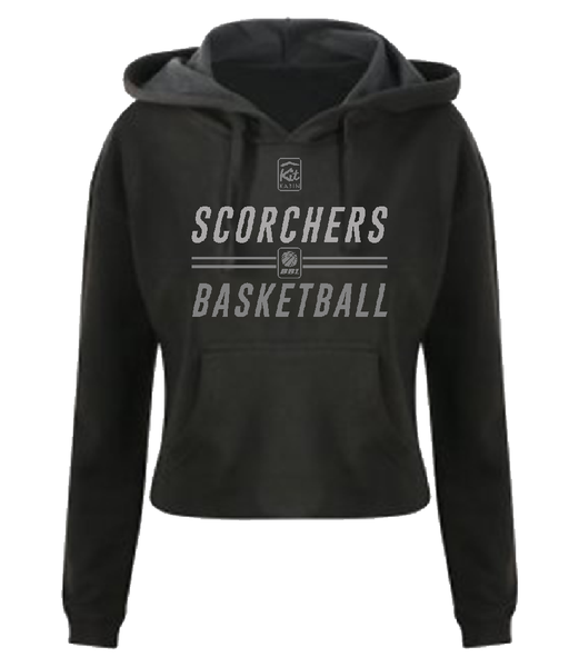 WOMENS SCORCHERS SIGNATURE CROP HOODIE - BLACK