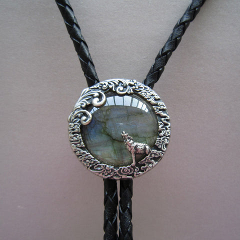 Vintage Silver Plated Nature Labradorite Stone Wolf Bolo Tie Each Stone is Unique