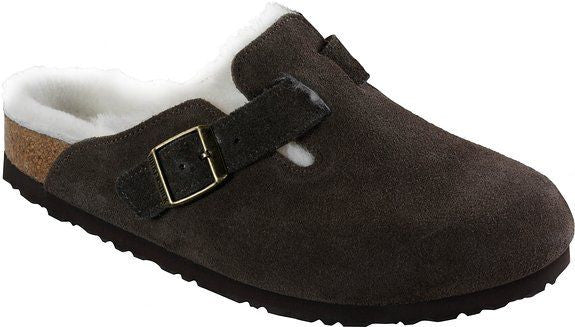 Birkenstock Boston Fur Shearling Mocha Unisex Clogs