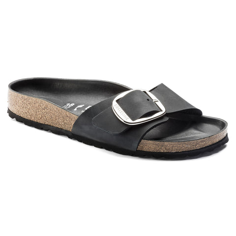 Birkenstock Madrid Big Buckle Black Leather Sandals (Narrow)