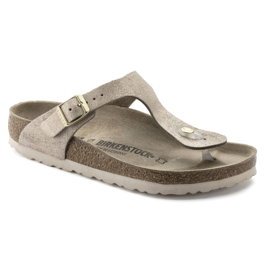 Birkenstock Gizeh Washed Metallic Rose Gold Leather Sandals