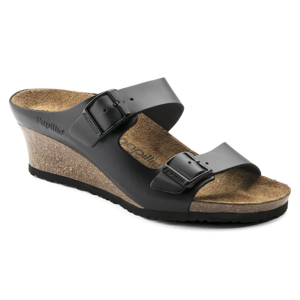 Birkenstock Papillio Emina Black Leather Wedges