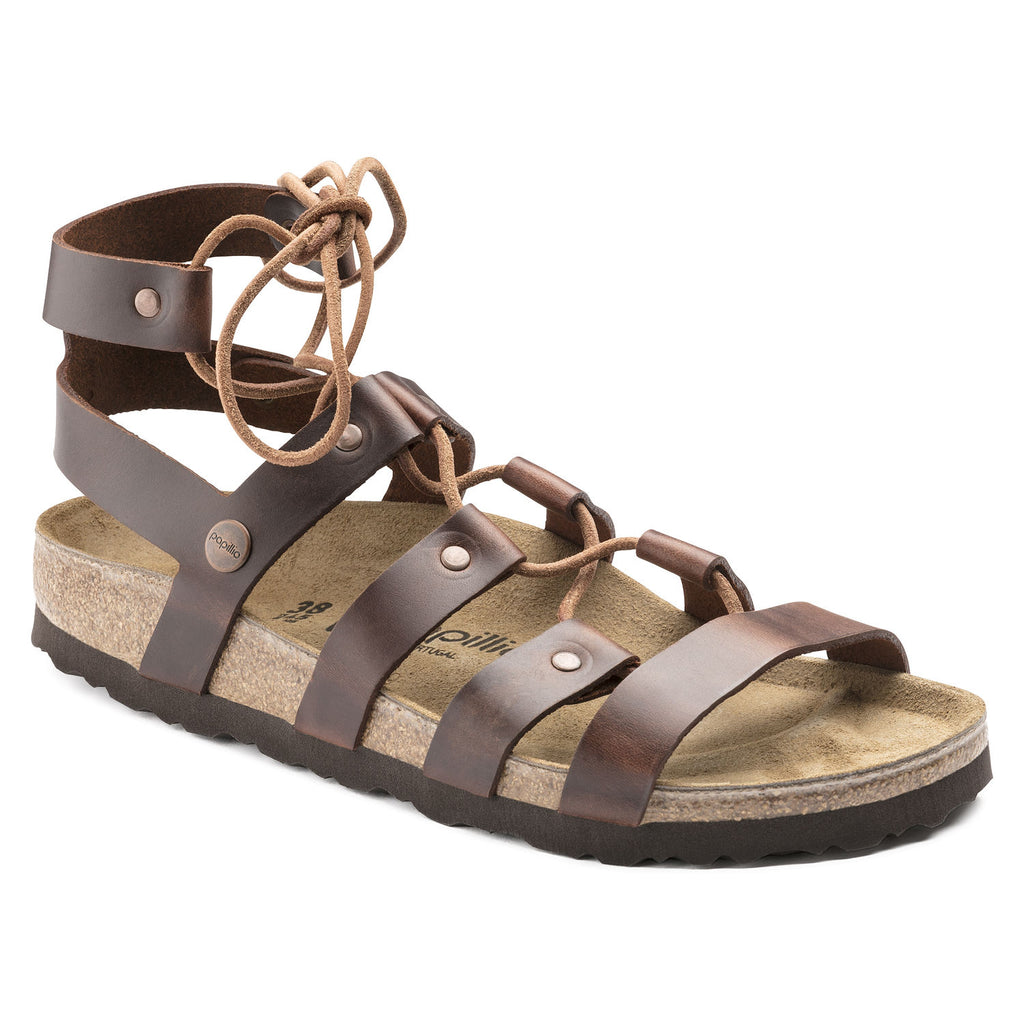 Birkenstock Papillio Cleo Cognac Leather Sandals (Narrow)