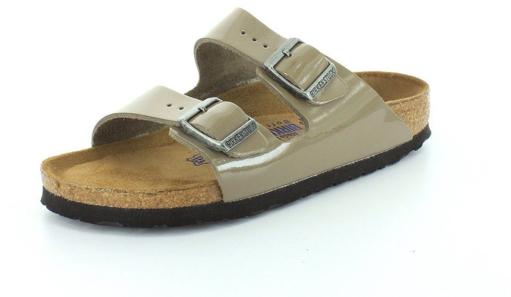 Birkenstock Arizona Soft Footbed Lack Fossil (Taupe) Patent Leather Sandal