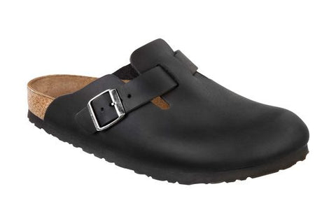 Birkenstock Boston Black Oiled Leather Clogs