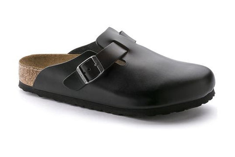 Birkenstock Boston Soft Footbed Black Amalfi Leather Clogs