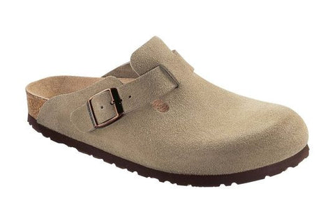 Birkenstock Boston Soft Footbed Taupe Suede Clogs