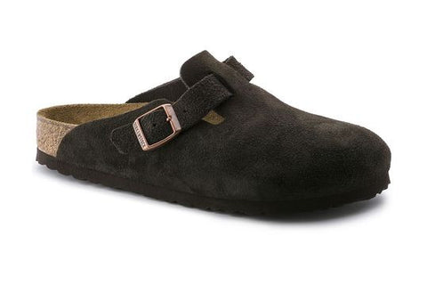 Birkenstock Boston Soft Footbed Mocha Suede Clogs