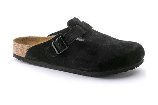 Birkenstock Boston Soft Footbed Black Suede Clogs