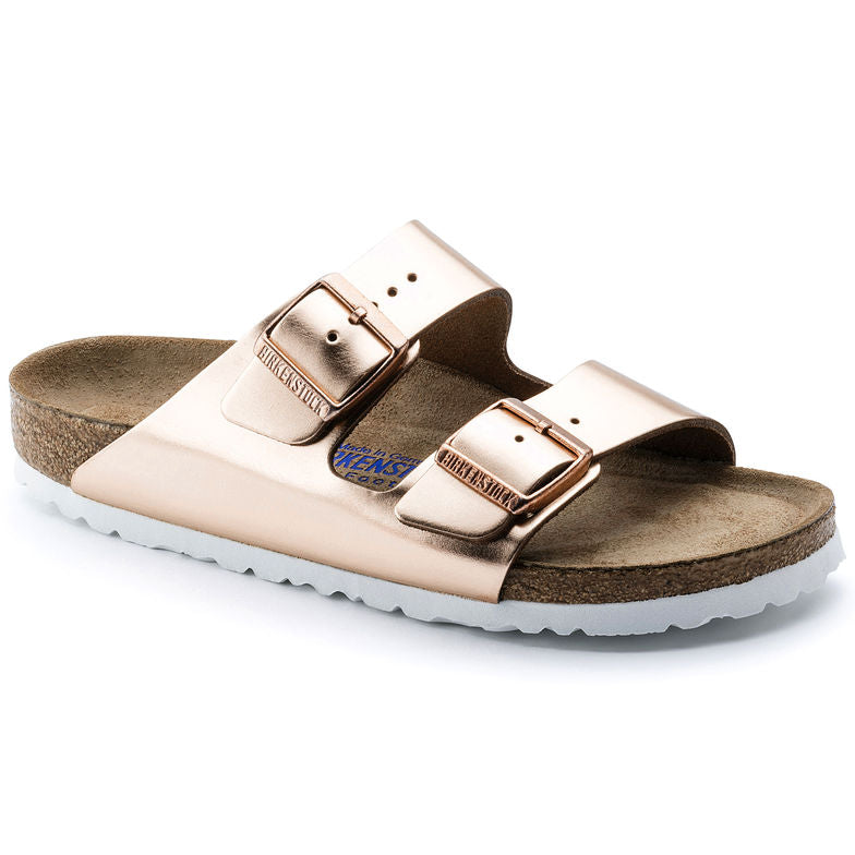 Birkenstock Arizona Metallic Copper Leather Soft Footbed Sandals (White Sole)