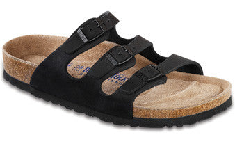 Birkenstock Florida Black Soft Footbed Oiled Leather Sandal