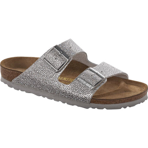 Birkenstock Arizona Soft Footbed Pebble Metallic Silver Nubuck Sandal