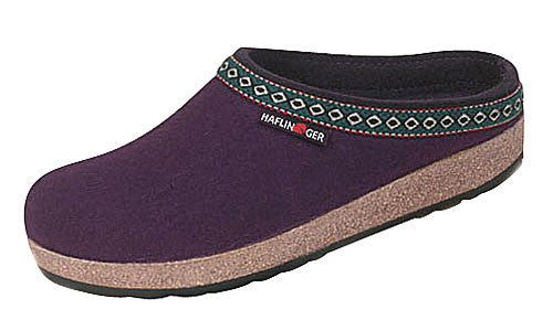 Haflinger Classic Grizzly Eggplant Wool Clog