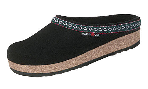 Haflinger Classic Grizzly Black Wool Clog