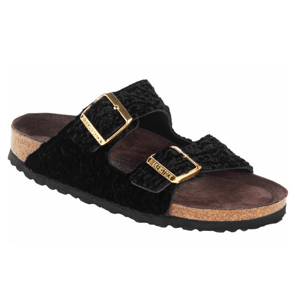 Birkenstock Arizona Soft Footbed Suede/Textile (Crushed Velvet) Persian Black Sandal (Narrow)
