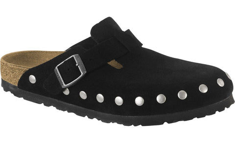 Birkenstock Boston Black Suede Rivet Clogs (Narrow)