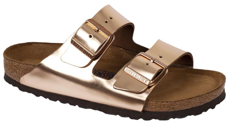 Birkenstock Arizona Copper Leather Soft Footbed Sandals (Brown Sole)