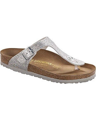 3d114c01858 Birkenstock Gizeh Metallic Silver Pebbles Nubuck Sandal – Sole Solution