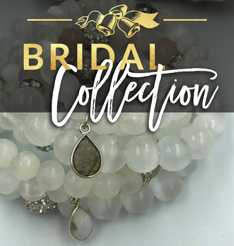 healing crystal jewelry bridal collection graphic with quartz & selenite bracelets and wedding bells