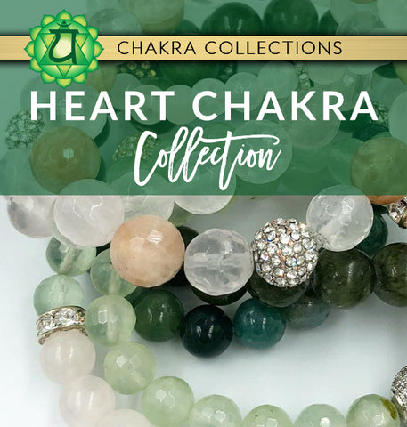 heart chakra jewelry collection graphic with green pink and white crystal healing bracelets