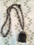 Black Obsidian Buddha healing crystal necklace
