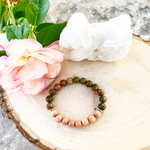 Unakite and Rosewood Bracelet