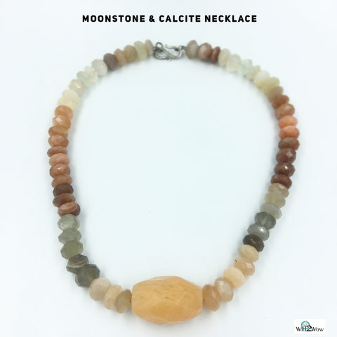 Moonstone and Calcite Crystal Healing Necklace