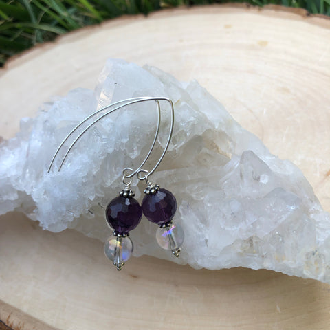 Amethyst and Angel Aqua Aura Earrings