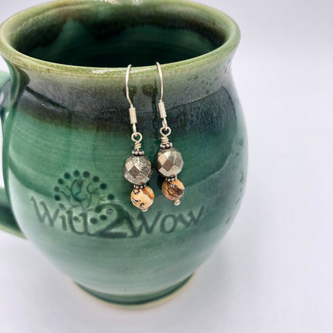 Pyrite and Picture Jasper Sterling Silver Earrings