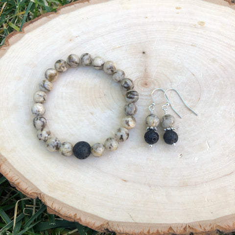 Brown Zebra Jasper and Lava Stone Bracelet and Earring Set