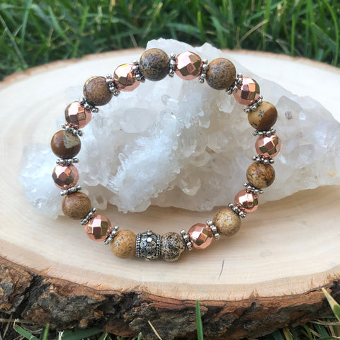 Rose Gold Hematite And Picture Jasper Gemstone Bracelet