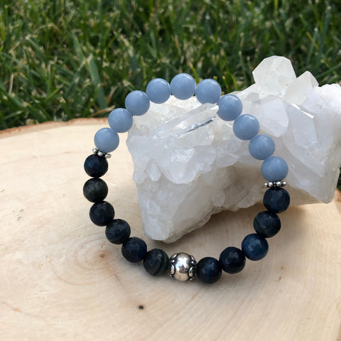 Blue Tiger's Eye and Angelite Crystal Healing Bracelet