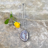Agate Slice And Clear Quartz Necklace