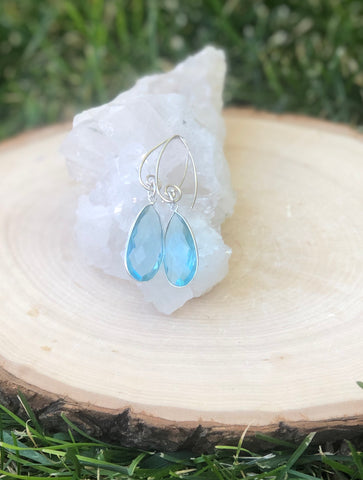 Blue Topaz gemstone Sterling Silver Earrings
